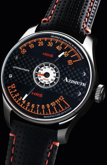 Azimuth Heures et Minutes Bi Retrograde