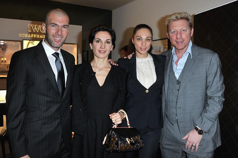 Зинадин Зидан и его жена Вероника с Борисом Беккером и его женой Шарли Беккер.