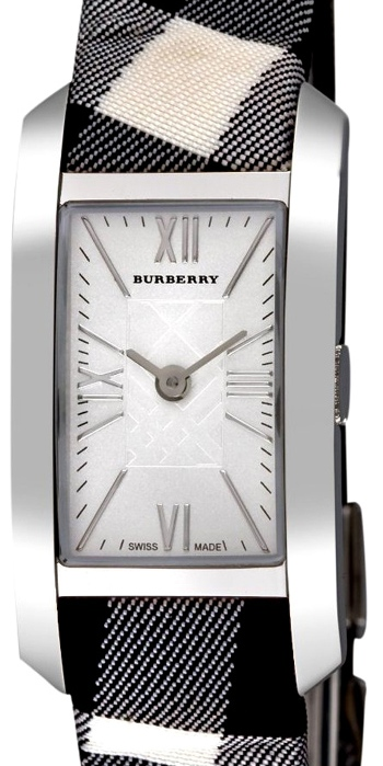 часы BU1078 Check Engraved White Dial Rectangular Case от Burberry