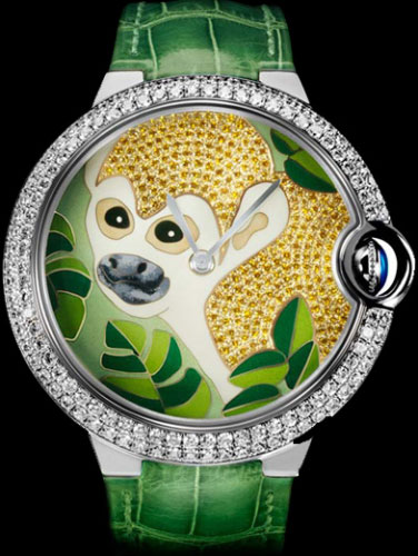 часы Ballon Bleu de Cartier large model monkey motif (Ref. CRHPI00410)