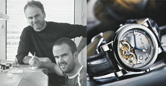 Джон и Стивен МакГонигл с их знаменитым турбийоном McGonigle