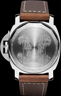 задняя сторона часов Panerai Luminor Marina Boutique Edition Beverly Hills PAM 416