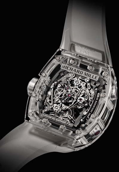 задняя сторона часов Richard Mille Tourbillon Split Seconds Competition Chronograph RM 056 Felipe Massa Sapphire