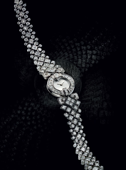часы Classic rivière watch in white gold and diamonds
