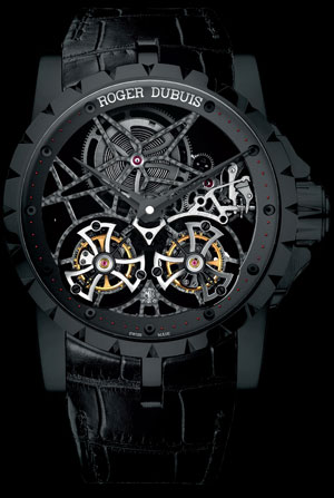 часы Roger Dubuis Excalibur Skeleton Double Flying Tourbillon in Black Titanium