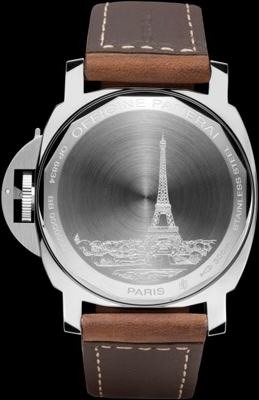 задняя сторона часов Panerai Luminor Marina Boutique Edition Paris PAM 414