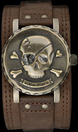 ���� Skull Face Brown Leather Mens Watch (Ref. E11581G1)