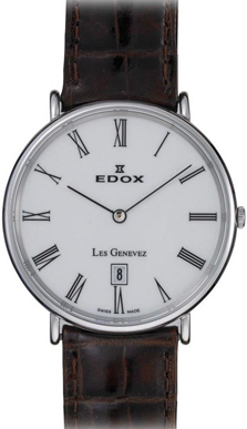 Edox Les Genevez Gents Quartz Ultra Slim Steel Watch Roman Numerals - 27028 3P BR