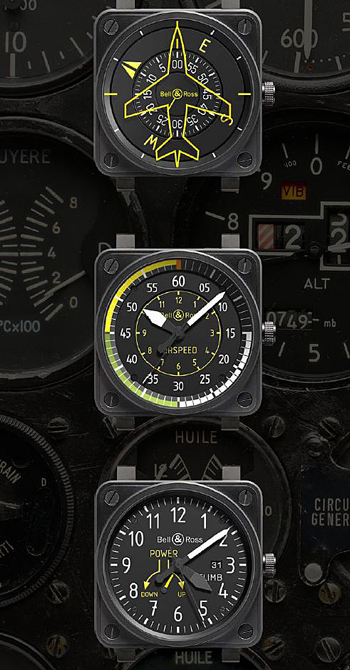 часы BR01 Heading indicator, BR 01 Airspeed и BR01 Climb от Bell & Ross