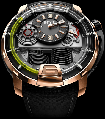 часы HYT H1 Hydro Mechanical Watch black DLC - Pink gold (5N)