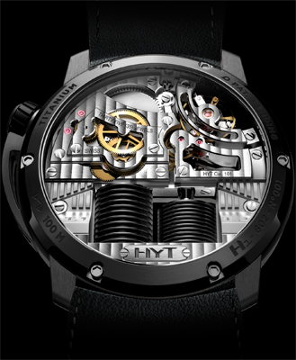 задняя сторона часов HYT H1 Hydro Mechanical Watch Black DLC
