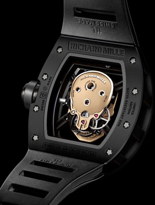 задняя сторона часов Richard Mille Nano-Ceramic RM 52-01 Skull Tourbillon