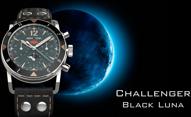 ���� TNT Black Luna Moonphase Chronograph