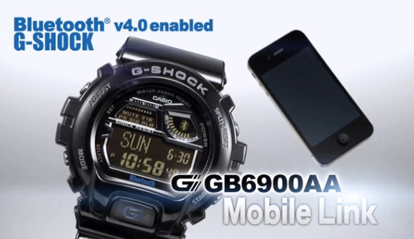 часы Casio G-Shock GB6900AA, которые способны взаимодействовать с iPhone 4S/5 по протоколу Bluetooth 4.0