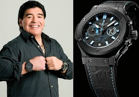 Диего Марадона с часами Hublot Big Bang Maradona