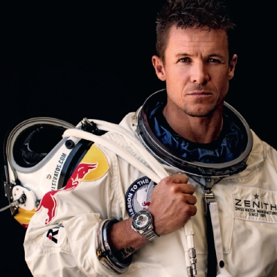Феликс Баумгартнер с часами Zenith El Primero Stratos Flyback Striking 10th Tribute to Felix Baumgartner