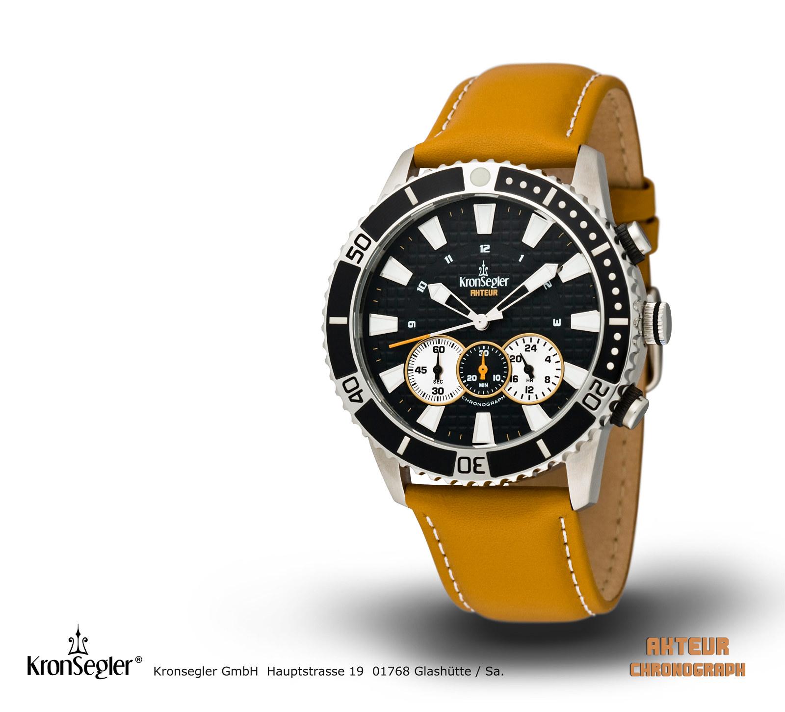 часы Kronsegler Kronsegler Akteur Chronograph Black/Brown