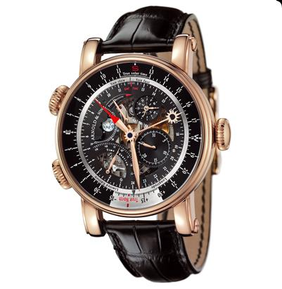 ���� Arnold & Son Rose gold skeleton black dial