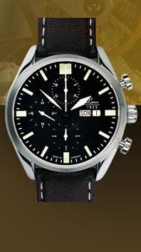 часы Laco Valjoux 44 black