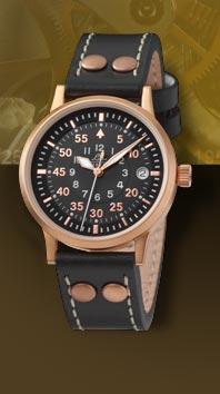 часы Laco Elegant Pilot Rosegold 36 Type B, quartz