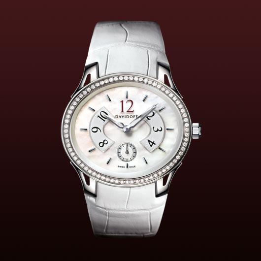 часы Davidoff Lady quartz diamonds white mother of pearl dial
