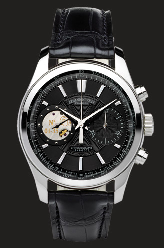 ���� Armand Nicolet Black Dial in Steel