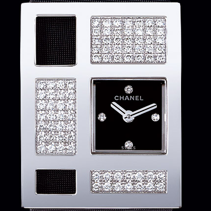 часы Chanel Or blanc 18 carats / Cadran noir 4 diamants