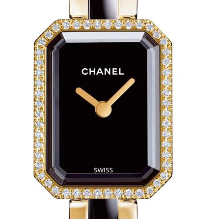���� Chanel Or jaune, cadran noir laqué