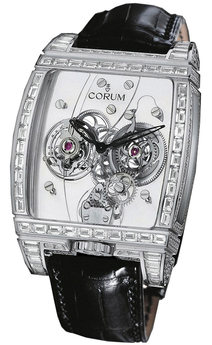 часы Corum Golden Bridges Golden Tourbillon Panoramique Diamants