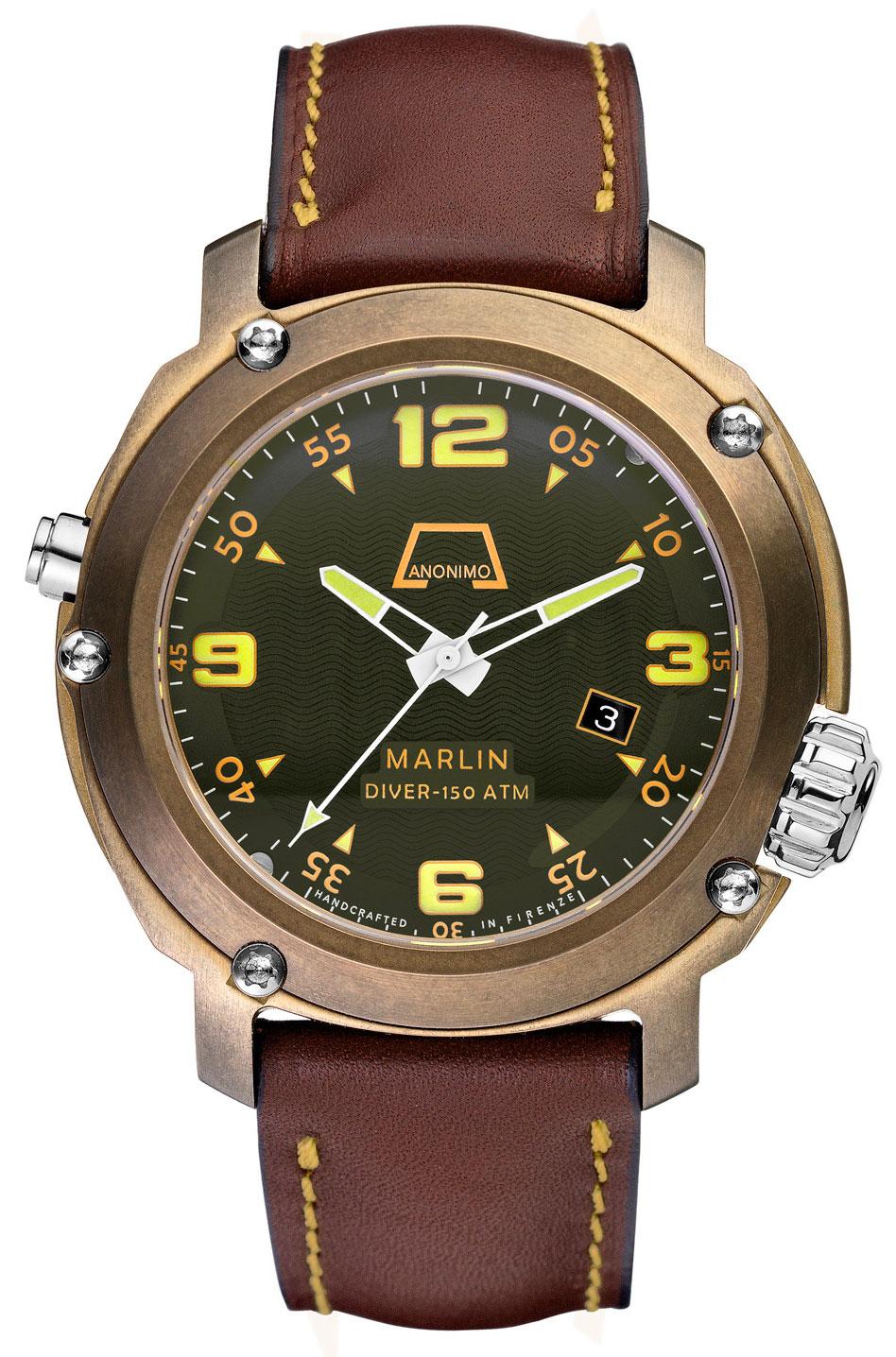 часы Anonimo Marlin Bronzo Green Dial