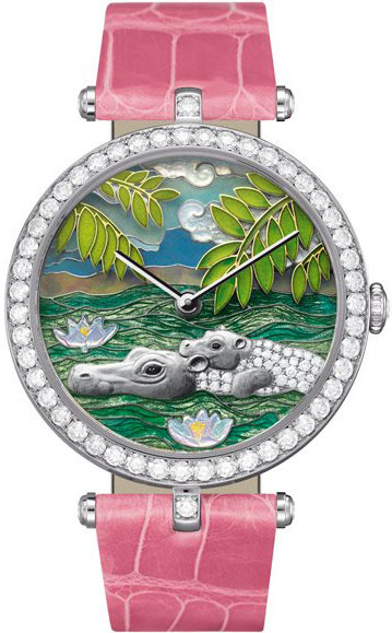 часы Van Cleef & Arpels Lady Arpels African landscape Hippopotamus Decor