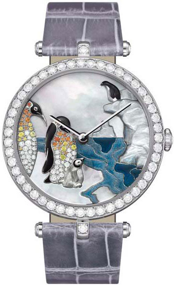 часы Van Cleef & Arpels Lady Arpels Polar landscape Penguin Decor