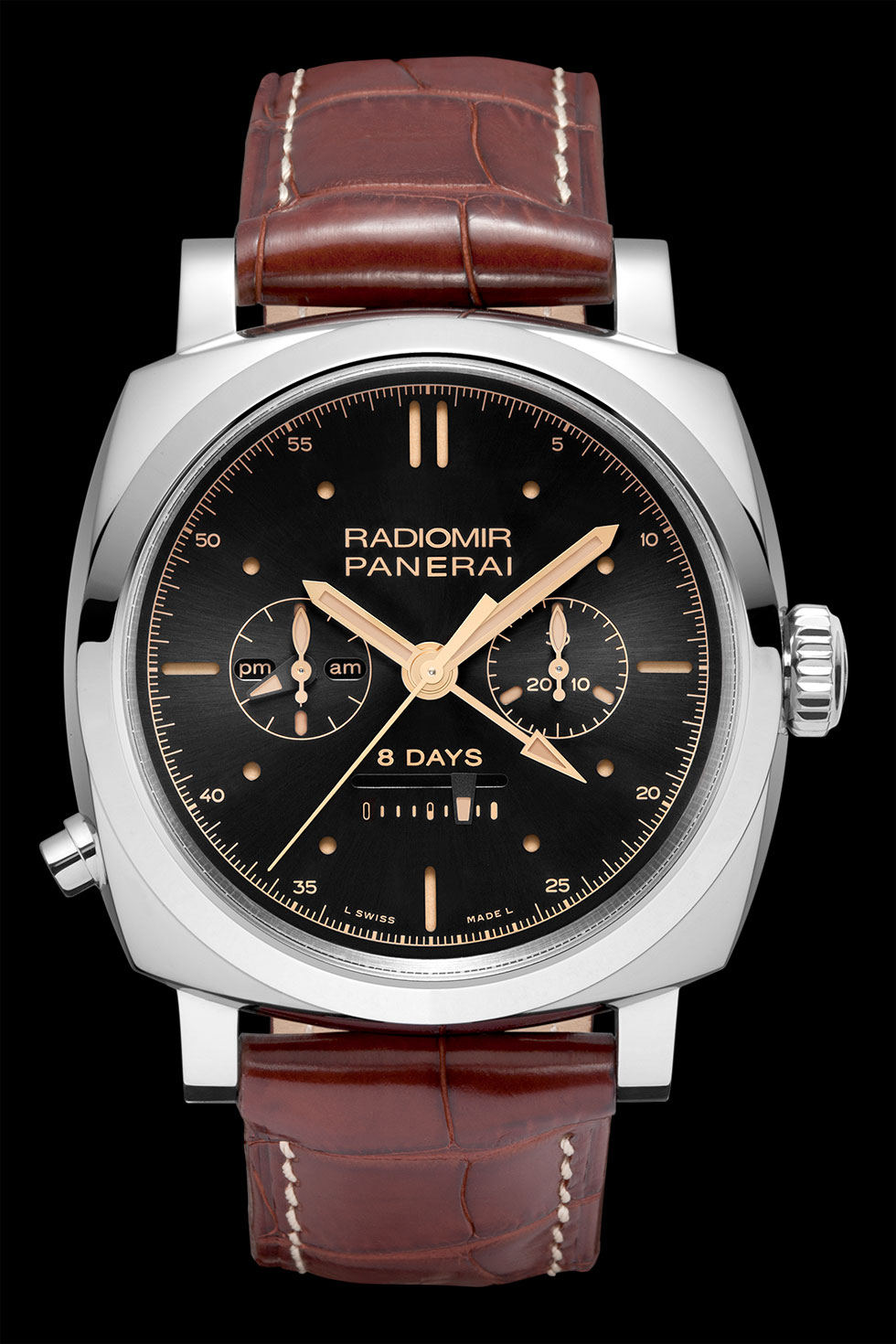 часы Panerai Radiomir 1940 Chrono Monopulsante 8 Days GMT Oro Bianco