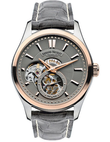часы Armand Nicolet Steel with grey deal and rose gold bezel