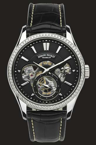 часы Armand Nicolet Black Dial with diamond bazel