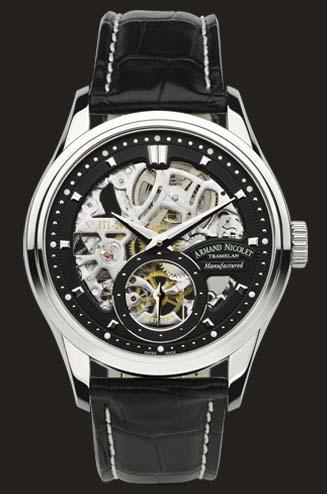 часы Armand Nicolet Stainless steel with black sceleton dial