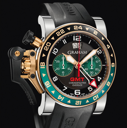 часы Graham CHRONOFIGHTER OVERSIZE GMT BLACK BRG STEEL & GOLD