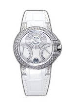 часы Harry Winston Ocean Biretro (WG_Diamonds / White Leather)