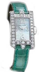 часы Harry Winston Avenue Lady Mechanical (WG_Diamonds / MOP / Green Strap)