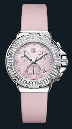 часы TAG Heuer Formula 1 Diamond Chronograph (SS-Diamonds / Pink / Strap)
