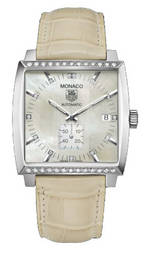 часы TAG Heuer Monaco Automatic (SS-Diamonds / MOP / Leather)