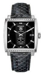 часы TAG Heuer Monaco Automatic (SS-Diamonds / Black / Leather)