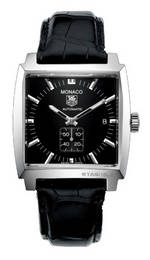 часы TAG Heuer Monaco Automatic (SS / Black / Leather)