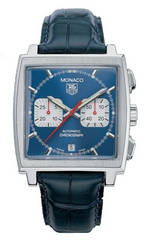 часы TAG Heuer Monaco Automatic Chronograph (SS / Blue / Leather)