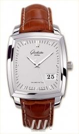 часы Glashutte Original Glashutte Original Senator Karree Panorama Date (SS / Silver / Leather)