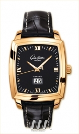 часы Glashutte Original Glashutte Original Senator Karree Panorama Date with Manual Winding (RG / Black / Leather)