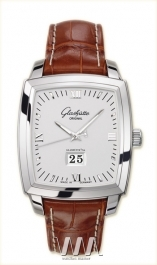 часы Glashutte Original Glashutte Original Senator Karree Panorama Date with Manual Winding (SS / Silver / Leather)