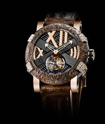 ���� Romain Jerome Titanic-DNA � Rusted steel T-oxy IV Tourbillon pink gold white diamonds set paws Ultimate