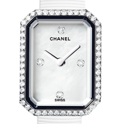 ���� Chanel Acier, cadran nacre blanche avec 4 index diamant