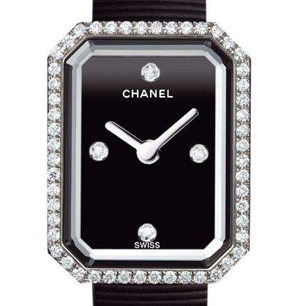 часы Chanel Acier, cadran noir laqué avec 4 index diamant